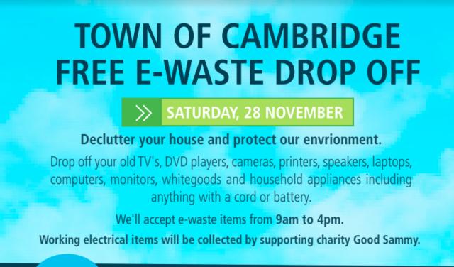Town of Cambridge free e-waste drop off